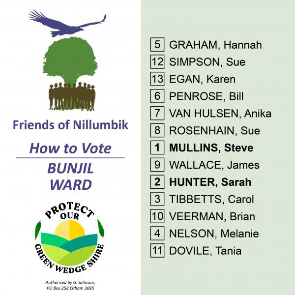 Bunjil Ward how to vote card