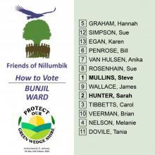 Bunjil Ward how to vote card